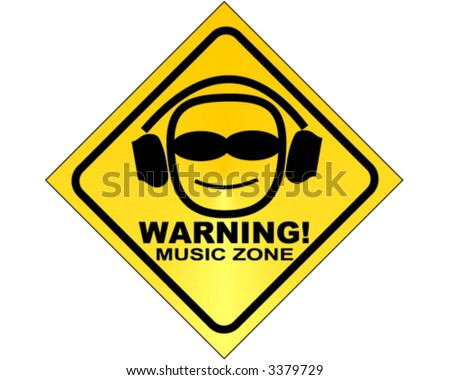 WARNING! music zone - vector sign