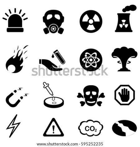 Warning, safety and danger signs icon set