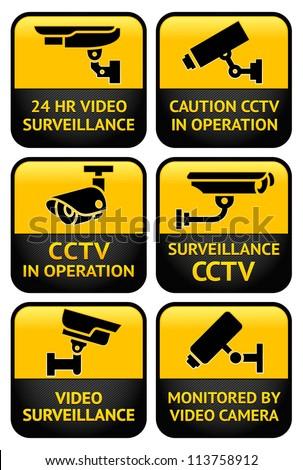 Warning set Sticker for Security Alarm CCTV Camera Surveillance