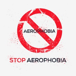 Warning sign (Aerophobia) Greek word mean in English (fear of flying), vector illustration.