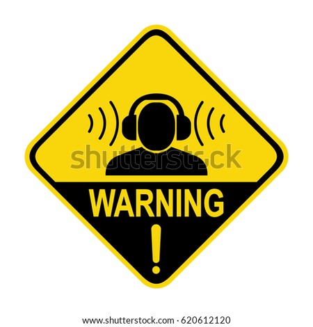 Warning sign high noise levels. Wear earmuffs or ear plugs sign, symbol, illustration