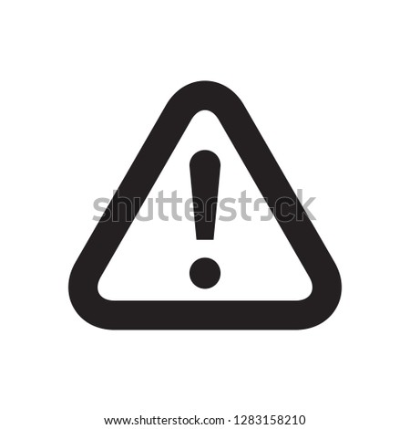 Warning sign icon, black isolated on white background, vector illustration.