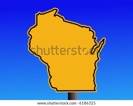 Warning sign in shape of Wisconsin on blue illustration