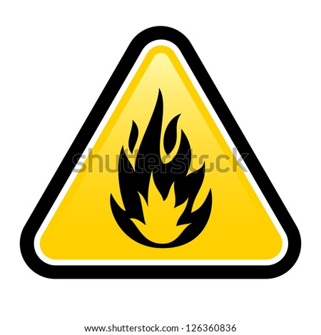 Warning sign of flammable product. Illustration on white background for design - stock vector