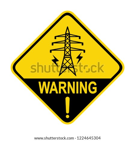 Warning sign of High voltage electric transmission. Symbol, vector
