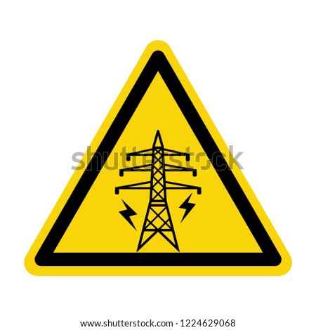 Warning sign of High voltage electric transmission. Symbol, vector, illustration