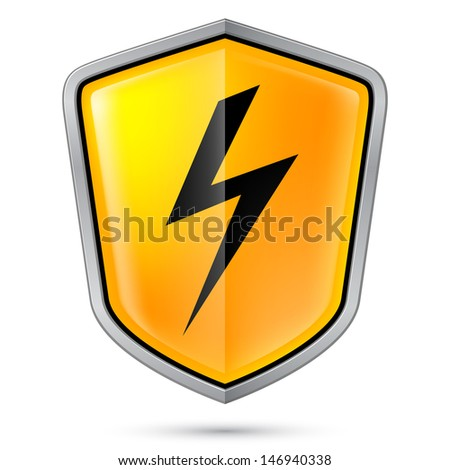 Warning sign on shield, indicating of High voltage. Illustration on white