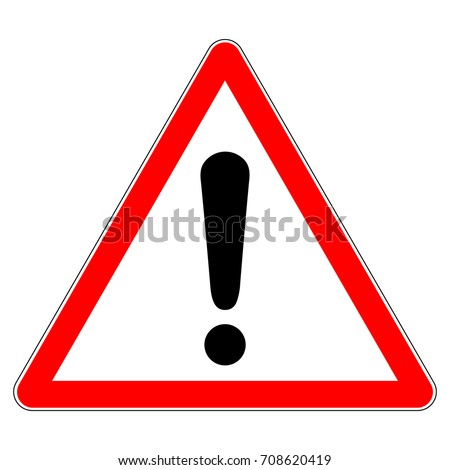 Warning sign, red triangle sign with exclamation mark, vector illustration.