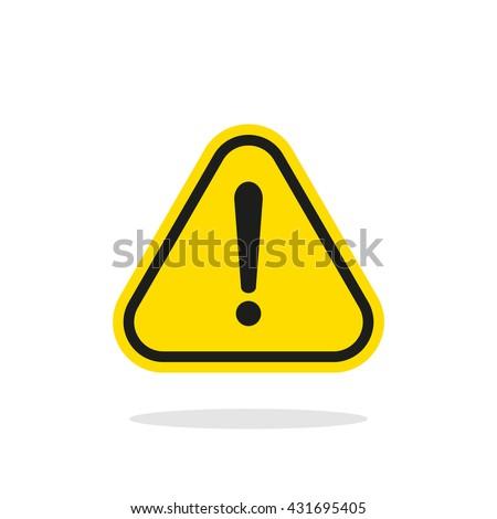 Warning sign, Yellow warning sign, Warning sign Icon, Warning sign on white, Warning sign vector, Warning sign illustration. Triangle warning sign