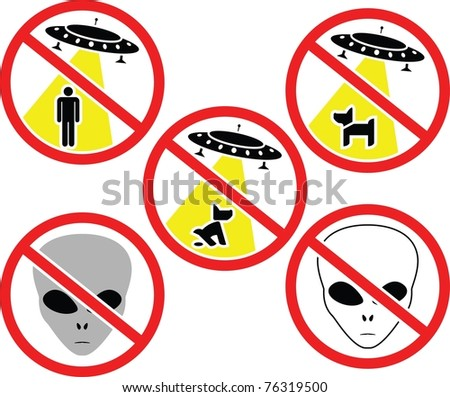 warning signs for aliens. vector illustration