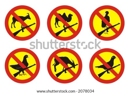 warning signs - no shooting at animals - vector illustration