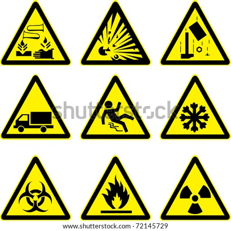 warning signs set explosive acid slippery truck construction site slippery radioactive ice and hazard