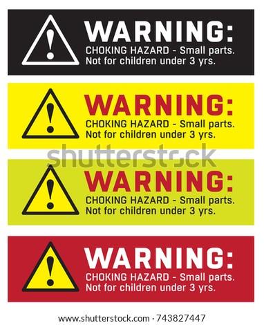warning sticker, CHOKING HAZARD - Small parts. Not for children under 3 yrs.