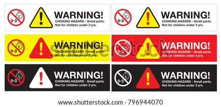 warning sticker, CHOKING HAZARD - Small parts. Not for children under 3 yrs. with logo