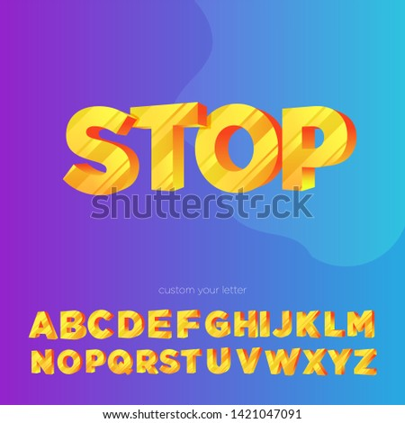 """Warning stops or """"Stop"""" text in 3d or perspective and can be adjusted to other texts"""