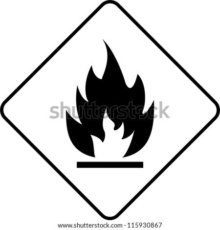 Warning symbol flame