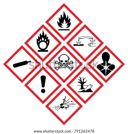 Warning symbol hazard icons Ghs safety pictograms. Global healthy sign of Physical hazards, Explosive, Flammable Oxidizing, Compressed Gas, Corrosive, toxic, Harmful, Health, Environmental. peligroso