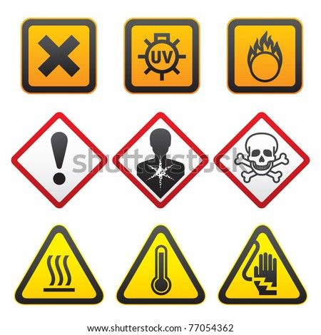 Warning symbols - Hazard Signs-Forth set
