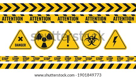 Warning tape and danger signs vector collection. Foto stock ©