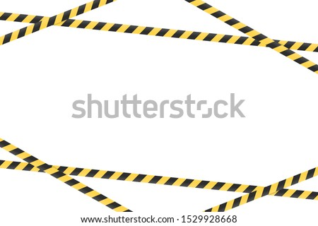 Warning tape background icon. Vector illustration in flat design