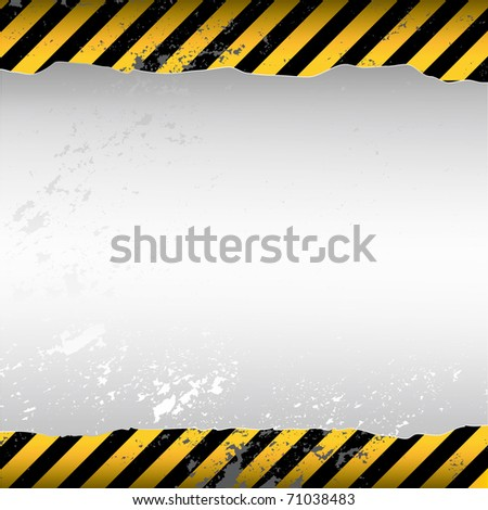 warning themed torn wallpaper - stock vector