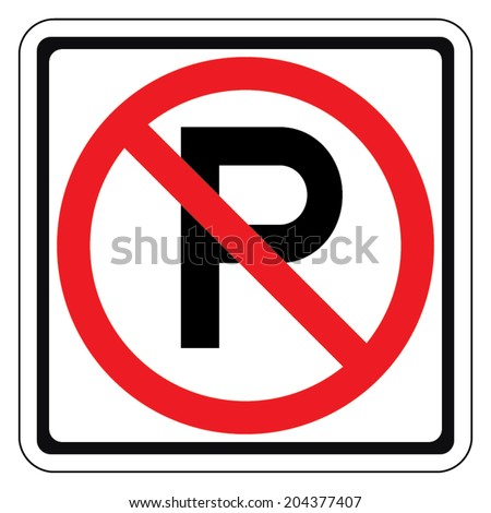 Warning traffic sign, NO PARKING