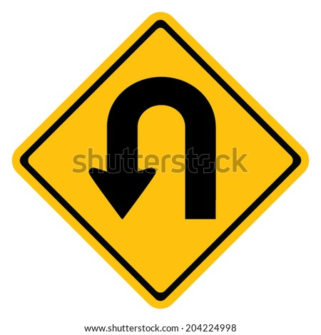 Warning traffic sign U-TURN
