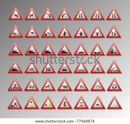 Warning traffic signs for your design