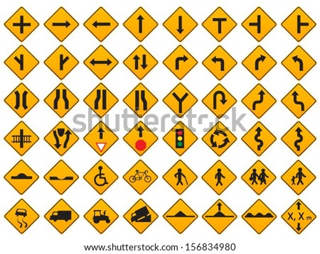 Warning Traffic Signs Vector Set