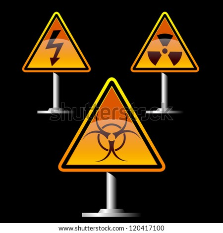 warning trefoil and high voltage signs