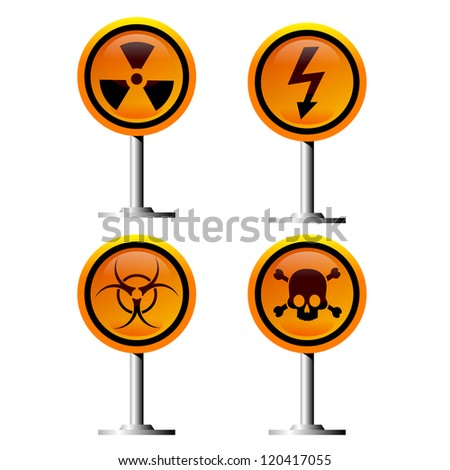 warning trefoil, high voltage and jolly roger signs