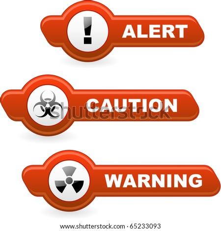 Warning vector button set.