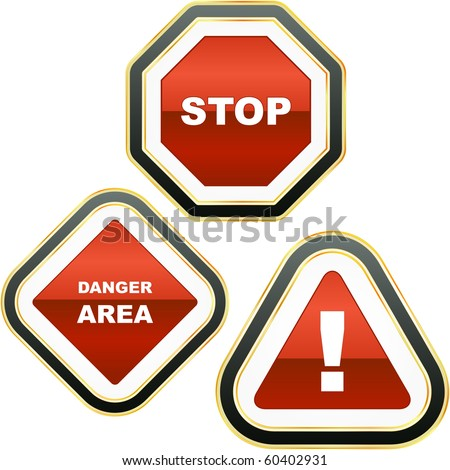 Warning vector signs. Vector template.