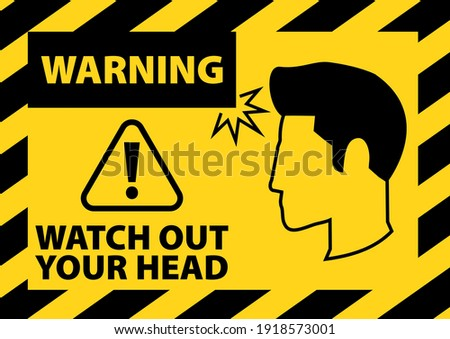 WARNING, WATCH OUT YOUR HEAD, YELLOW BACKGROUND Stock foto ©