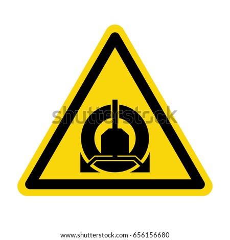 Warning : Wheel clamping in operation. Sign, symbol