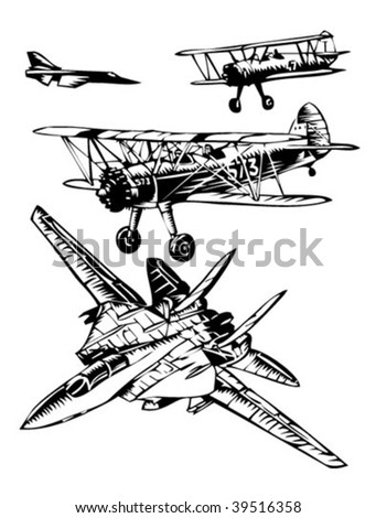 warplanes illustration - stock vector