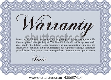 Warranty Certificate. Detailed. Complex design. Printer friendly.
