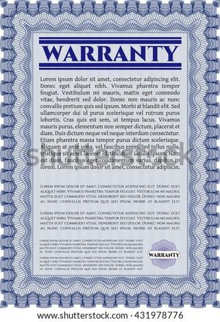 Warranty Certificate. Detailed. Complex design. Printer friendly.