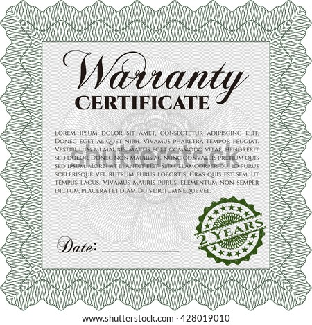 Warranty Certificate. Easy to print. Nice design. Detailed.