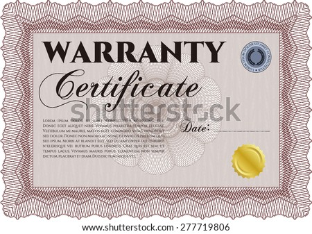 Warranty Certificate template. Complex border design. Easy to print. Very Customizable.