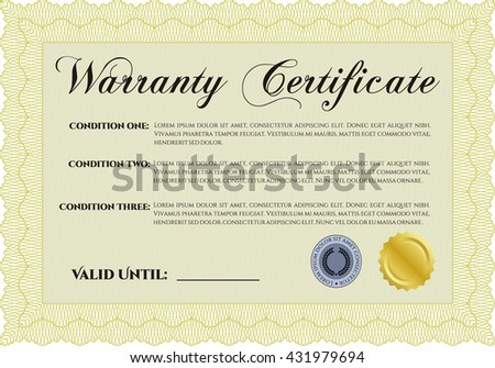 Warranty Certificate template. Cordial design. With background. Detailed.