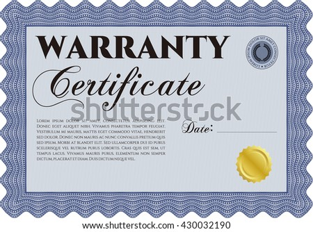 Warranty Certificate template. Detailed. Easy to print. Nice design.