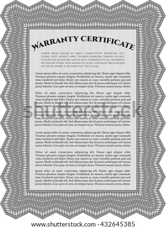 Warranty Certificate template. Detailed. Nice design. Easy to print.