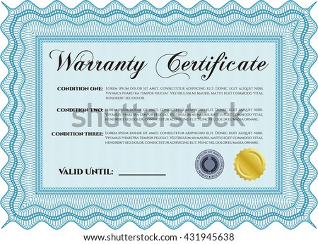 Warranty Certificate template. Detailed. With background. Cordial design.