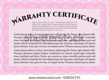 Warranty Certificate template. Easy to print. Nice design. Detailed.