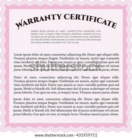 Warranty Certificate template. Nice design. Easy to print. Detailed.