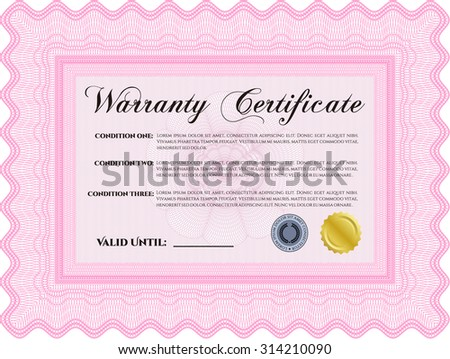 Warranty Certificate template. Perfect style. Complex border. With complex background.