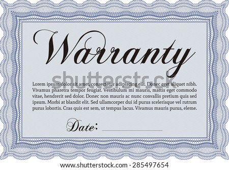 Warranty Certificate template. With sample text. With sample text. Vector illustration.