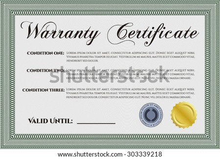 Warranty Certificate. With background. Perfect style. Complex design.