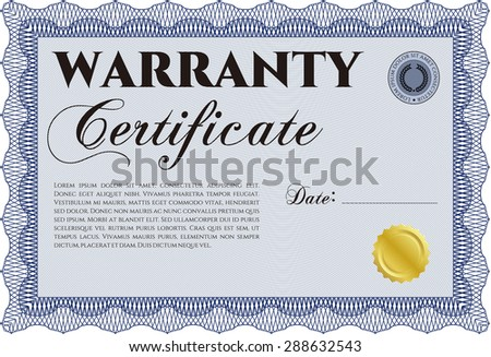 Warranty Certificate. With sample text. Perfect style. With sample text.